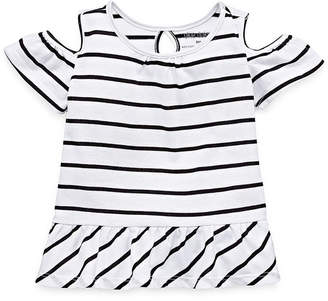 Okie Dokie Cold Shoulder Short Sleeve T-Shirt-Baby Girls NB-24M