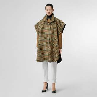 Burberry D-ring Detail Check Wool Cashmere Cape