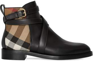 Burberry 20mm Pryle Leather & Check Boots
