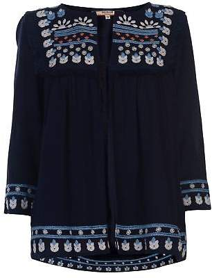 Soul Cal SoulCal Womens Embroidered Jacket Coat Top Lightweight Warm Tie