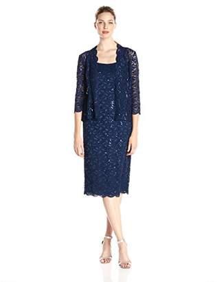 Alex Evenings Women's Short Lace Jacket Dress