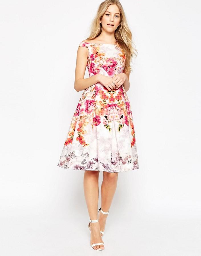 AsosASOS Placed Vintage Rose Off The Shoulder Bardot Midi Prom Dress