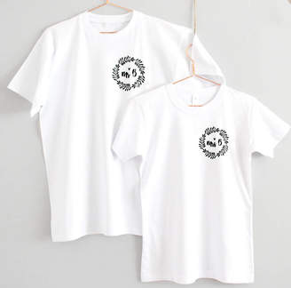 Precious Little Plum Mr And Mrs Personalised Wreath Wedding T Shirts
