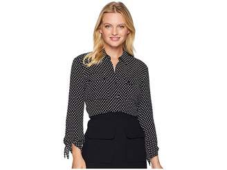 Jones New York Tie Sleeve Button Up Shirt Women's Clothing