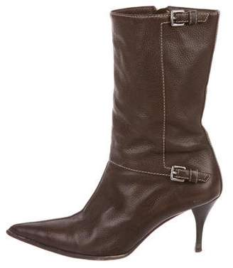 Hermes Leather Mid-Calf Boots