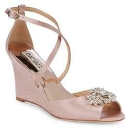 Badgley Mischka Abigail Embellished Satin Ankle Strap Sandals