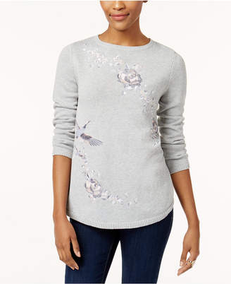Style&Co. Style & Co Petite Cotton Embroidered Sweater, Created for Macy's