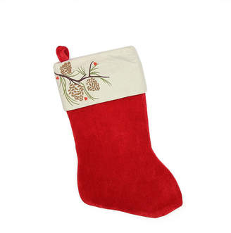 Northlight Traditional Pine Cone Suede Cuff Christmas Stocking