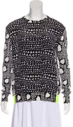 Stella McCartney Printed Virgin Wool Silk-Blend Sweater Black Printed Virgin Wool Silk-Blend Sweater