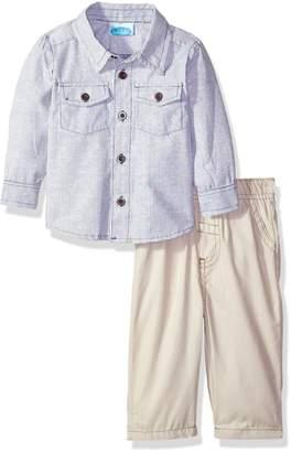 Bon Bebe Boys' 2 Piece Longsleeve Collared Botton Front Shirt with Woven Pant
