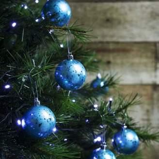 The Christmas Boutique 12Pcs 6Cm Shatterproof Ice Blue Foil Christmas Tree Bauble Decorations