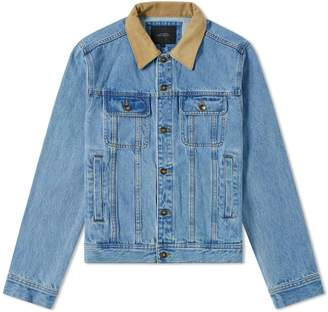 Saturdays NYC Emil Leather Collar Denim Jacket