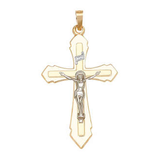 FINE JEWELRY Religious Jewelry 14k Two-Tone Gold Double Cross Crucifix Charm Pendant