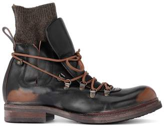 Moma Bowling Black Leather Ankle Boots With Wool Sock