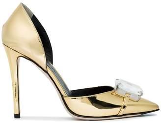 Marco De Vincenzo Gold Crystal 105 patent leather pumps