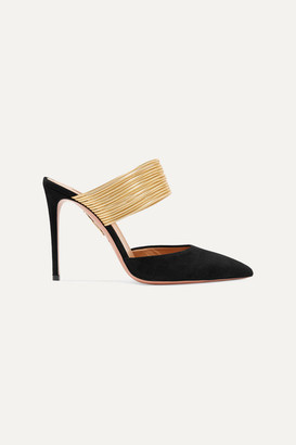 Aquazzura Rendez Vous 105 Suede And Metallic Leather Mules - Black