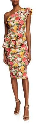 Chiara Boni Printed Ruffled One-Shoulder Asymmetric Peplum Dress