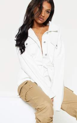 PrettyLittleThing White Cord Belted Waist Denim Jacket