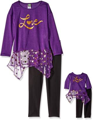 Dollie & Me Big Girls' Sweater Knit and Chiffon Love Dress with Legging