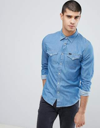 Lee Jeans Pindot Button Down Denim Shirt in Washed Blue