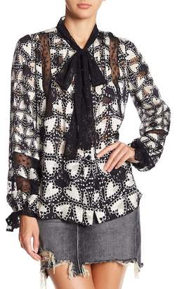 Anna Sui Chasing Hearts Silk Blend Blouse