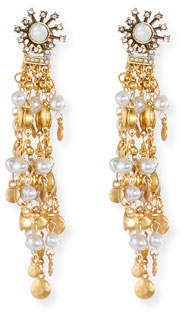 Sequin Tiered Chandelier Earrings with Simulated Pearls
