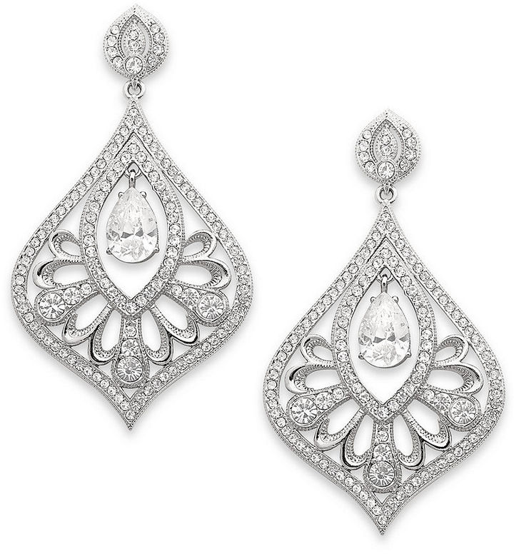 Eliot Danori Earrings, Crystal and Cubic Zirconia Drop Earrings (3 ct. t.w.)