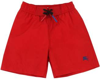 Burberry Logo Embroidered Nylon Swim Shorts