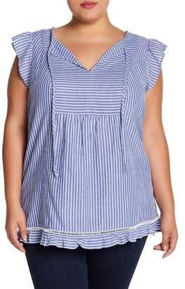 Joe Fresh Ruffle Flutter Sleeve Striped Blouse (Plus Size)