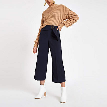 Womens Navy buckle belted culottes