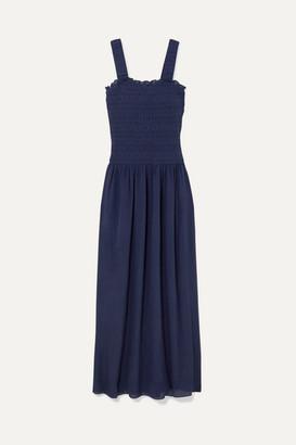 Heidi Klein Smocked Silk-crepe Maxi Dress - Navy