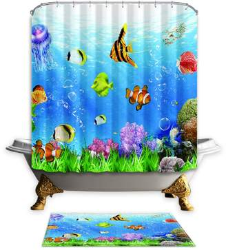 NYMB The Seabed Fish 69X70 inches Mildew Resistant Polyester Fabric Shower Curtain Set Fantastic Decorations Bath Curtain Suit with Floor mat