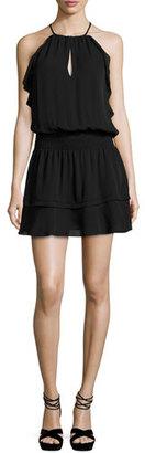 Parker Williame Sleeveless Silk Blouson Mini Dress, Black $298 thestylecure.com