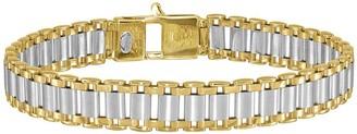 """Italian Gold Men's 8-1/4"""" Two-Tone Link Bracelet, 19.2g, 14K"""
