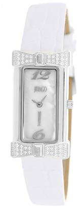 Jivago Womens Charmante White Faux Pearl Leather Strap Watch
