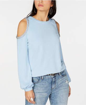 INC International Concepts I.n.c. Embellished Cold-Shoulder Sweatshirt