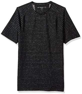 John Varvatos Men's Plated Stripe Short Sleeve Saddle Shoulder Knit Crewneck