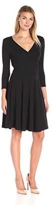 Lark & Ro Women's Three Quarter Sleeve Crossover Wrap Dress