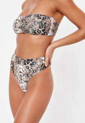 Missguided Brown Snake Print Highwaisted Thong Bikini Bottoms - Mix And Match