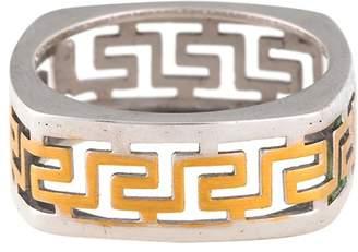 18K White Gold & Yellow Gold Greek Key Motif Ring Size 9
