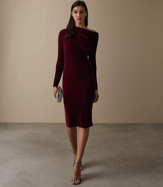 Reiss ELSA VELVET DRAPE DETAIL DRESS Berry