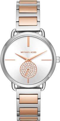 MICHAEL Michael Kors 37mm Portia Crystal Bracelet Watch, Two-Tone