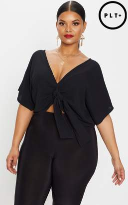 PrettyLittleThing Plus Black Chiffon Knot Front Crop Blouse