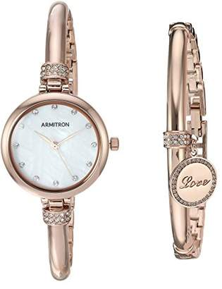 14b2d8144 Swarovski Armitron Women's 75/5581MPRGST Crystal Accented -Tone Watch and  Bangle Set
