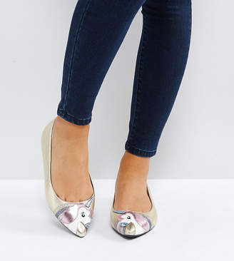 Asos Loopy Lou! Wide Fit Unicorn Ballet Flats