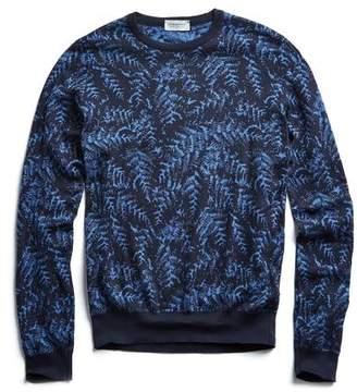 John Smedley Sweaters Sea Island Cotton Jacquard Leaf Sweater in Navy