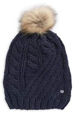 7cd5835ef3d Lauren Ralph Lauren Cable Knit Faux Fur Pom Beanie