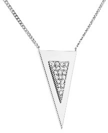 Janis Savitt Medium Triangle Necklace with Diamonds - White Gold
