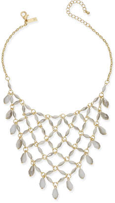 INC International Concepts I.n.c. Gold-Tone White Beaded Net Statement Necklace, Created for Macy's