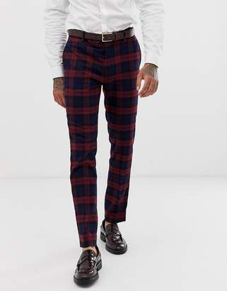 Avail London skinny fit suit pants in burgundy tartan